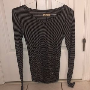 Hollister Black and White Striped Long Sleeve